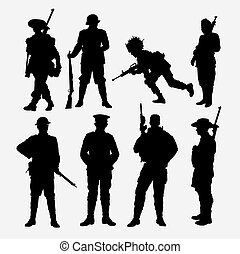 Army, military, soldier and police silhouette.