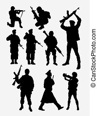 Military, army, soldier, police silhouette