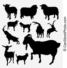 Goat and sheep pet and farm animal silhouette - Goat and...