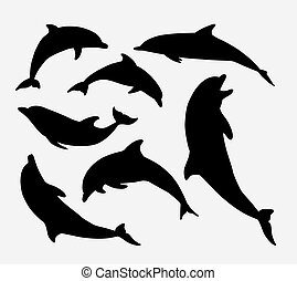 Dolphin fish animal silhouette. Good use for symbol, mascot,...