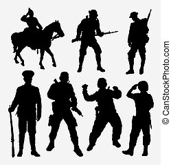 Soldier, military, army, police, and security silhouette -...