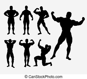 Body building male sport activity silhouette - Body building...