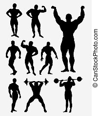 Body builder, fitness, gym vector silhouette - Body builder...
