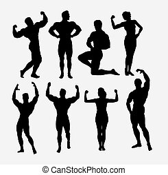 Male and female body builder, sport silhouette - Male and...