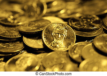 Stacks of Coins and Money Representing Wealth Success and Riches