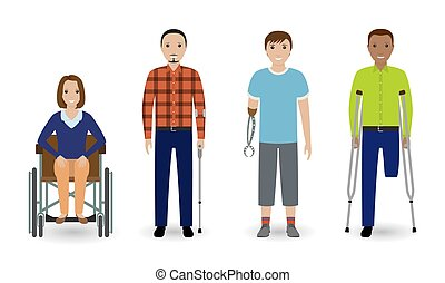 Disability people concept. Group of woman on a wheelchair and invalid men isolated on a white background.