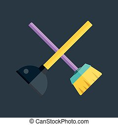 Toilet plunger and brush illustration - Toilet plunger...