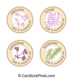 Set of flat essential oil labels. 100%. Oregano, Thyme,...