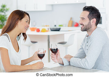 drinking wine in the house