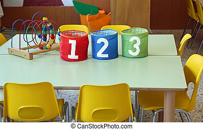 Three jar with big writing 1 2 3 into a kindergarten...