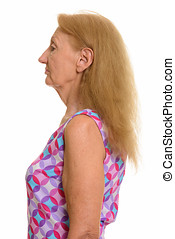 Profile view of senior woman