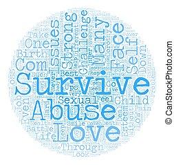 Survival text background wordcloud concept