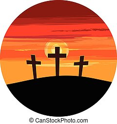 Three Crosses on Hill - Vector illustration of silhouettes...