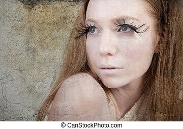 Exotic Looking Fashion Model with Long Eyelashes