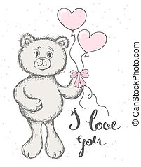 Teddy bear keeps the balloons in the form of hearts on a white background. Hand drawn lettering I love you.