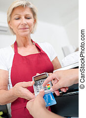 paying with a card