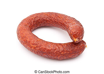 Smoked sausage on white