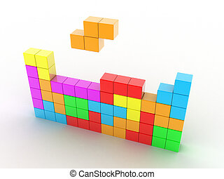 Tetris game - Illustration of cubes of different colour, for...