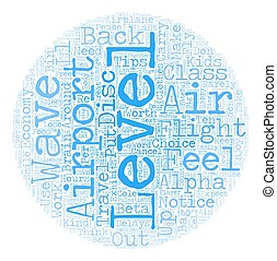 Ten Tips for Air Travel in text background wordcloud concept
