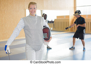 fencer posing with confidence