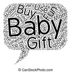 The Best Baby Shower Gift Ideas text background wordcloud...