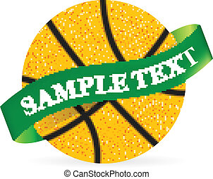 Basket Ball with ribbon on white background