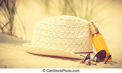 Beach accessories on sand. - Summer vacations concept. Beach...