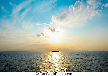 Beautiful sea level with fantasy sky and dramatic sunrise in the morning on the Aegean sea