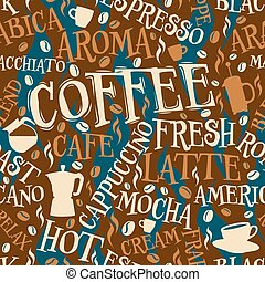 Coffee seamless tile - Vector seamless tile of coffee words...