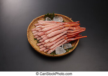 Namahiyabeni snow crab legs shelled on bamboo tray in grey...