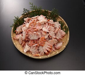 Boyle red snow crab shoulder meat half-cut on bamboo tray in...