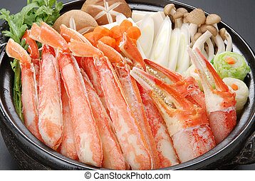 Raw fresh cold snow crab pot set with claws, legs, mushroom...