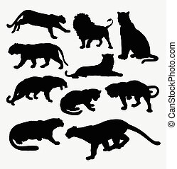 Cheetah, panther, leopard, lion and tiger animal silhouette...