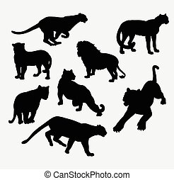 Cheetah, lion, tiger, and panther wild animal silhouette....