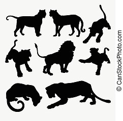 Tiger and lion wild animal silhouette. Good use for symbol,...
