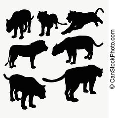 Lion, panther, and puma silhouette. Good use for symbol,...
