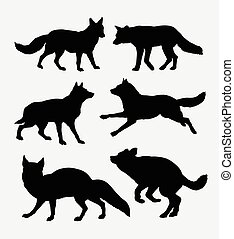 Wolf and fox activity silhouette. Good use for symbol, web...
