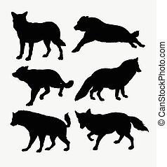 Fox and wolf animal silhouette