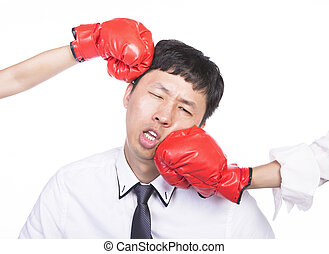 office worker got hit - asian office worker with red boxing...