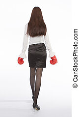 office worker boxing - asian office worker with red boxing...