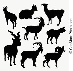 Goat and llama wild animal silhouette. Good use for symbol,...
