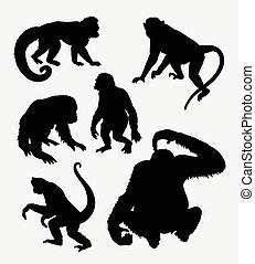 Monkey, orangutan, chimpanzee animal silhouette - Monkey,...