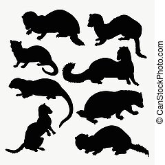 Weasel wild animal silhouette. Good use for symbol, web...