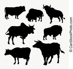 Bison, cow, buffalo and bull animal silhouette