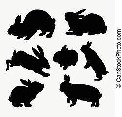 Rabbit animal action silhouette. Good use for symbol, web...