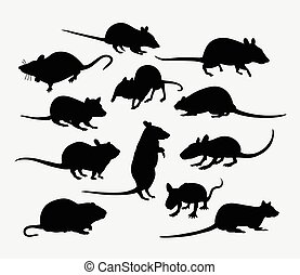 Mouse and rat mammal animal silhouette