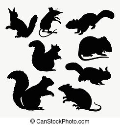 Squirrel and mouse mammal silhouette
