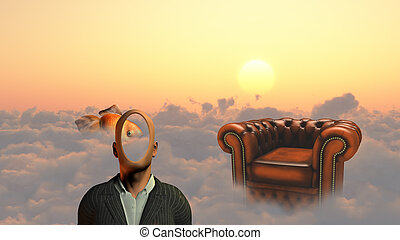 Faceless man above clouds. Golden fish and armchair.