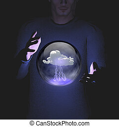 Man manipulation of sphere conmtaining cloud and lightning