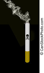 smoking cigarette with death sign on black background